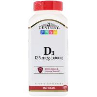 21st Century Vitamin D3 125 mcg (5,000 IU)