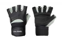 Перчатки для фитнеса Be First c жестким фиксатором запястья (черно-серые)