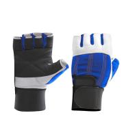 Перчатки для фитнеса Be First с фиксатором (бело-синие)