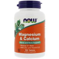 NOW Magnesium & Calcium With Zinc and Vitamin D-3 (100 таб)