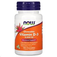 NOW Chewable Vitamin D-3 5,000 IU натуральный мятный вкус