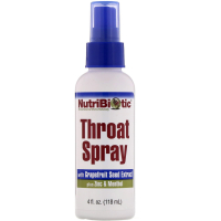 NutriBiotic Throat Spray (118 мл) - Спрей для горла с экстрактом косточек грейпфрута, цинком и ментолом
