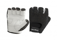 Перчатки для фитнеса Be First (белый хват, черная сетка)